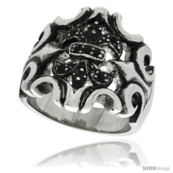 https://www.silverblings.com/7392-thickbox_default/surgical-steel-biker-ring-fleur-de-lis-armor-w-black-cz-stones.jpg