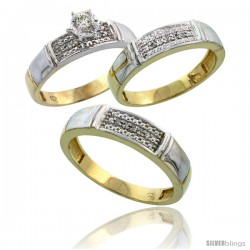 Gold Plated Sterling Silver Diamond Trio Wedding Ring Set His 5mm & Hers 4.5mm