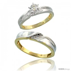 Gold Plated Sterling Silver 2-Piece Diamond Wedding Engagement Ring Set for Him & Her, 3.5mm & 5mm wide