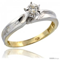 Gold Plated Sterling Silver Diamond Engagement Ring, 1/8 in wide -Style Agy108er
