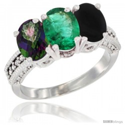 14K White Gold Natural Mystic Topaz, Emerald & Black Onyx Ring 3-Stone 7x5 mm Oval Diamond Accent