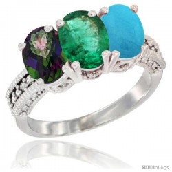 14K White Gold Natural Mystic Topaz, Emerald & Turquoise Ring 3-Stone 7x5 mm Oval Diamond Accent