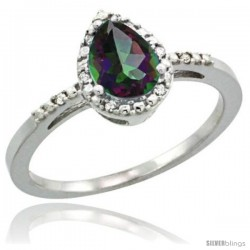 14k White Gold Diamond Mystic Topaz Ring 0.59 ct Tear Drop 7x5 Stone 3/8 in wide