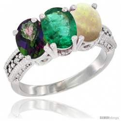 14K White Gold Natural Mystic Topaz, Emerald & Opal Ring 3-Stone 7x5 mm Oval Diamond Accent
