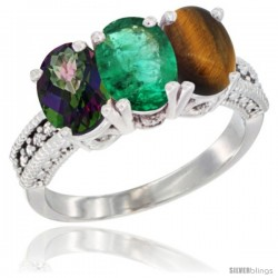14K White Gold Natural Mystic Topaz, Emerald & Tiger Eye Ring 3-Stone 7x5 mm Oval Diamond Accent