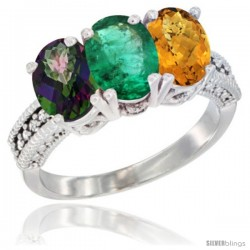 14K White Gold Natural Mystic Topaz, Emerald & Whisky Quartz Ring 3-Stone 7x5 mm Oval Diamond Accent