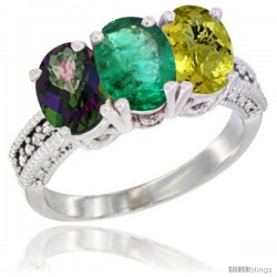 14K White Gold Natural Mystic Topaz, Emerald & Lemon Quartz Ring 3-Stone 7x5 mm Oval Diamond Accent