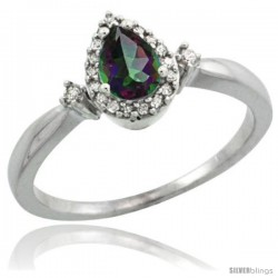 14k White Gold Diamond Mystic Topaz Ring 0.33 ct Tear Drop 6x4 Stone 3/8 in wide