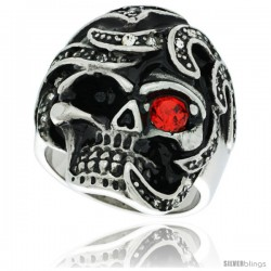 Surgical Steel Biker Skull Ring w/ Red CZ Eye Jeweled Decorated Helmed