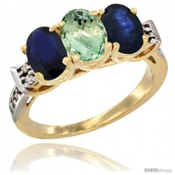 10K Yellow Gold Natural Green Amethyst & Blue Sapphire Sides Ring 3-Stone Oval 7x5 mm Diamond Accent