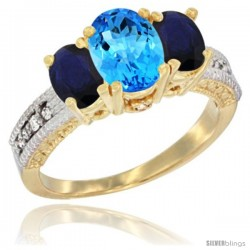 10K Yellow Gold Ladies Oval Natural Swiss Blue Topaz 3-Stone Ring with Blue Sapphire Sides Diamond Accent