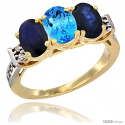 10K Yellow Gold Natural Swiss Blue Topaz & Blue Sapphire Sides Ring 3-Stone Oval 7x5 mm Diamond Accent