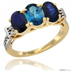 10K Yellow Gold Natural London Blue Topaz & Blue Sapphire Sides Ring 3-Stone Oval 7x5 mm Diamond Accent