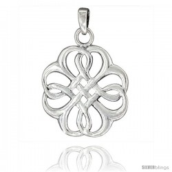 Sterling Silver Quaternary Celtic Knot Pendant, 1 3/8 in tall