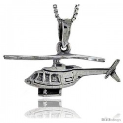 Sterling Silver Helicopter Pendant, 1 1/4 in in width.