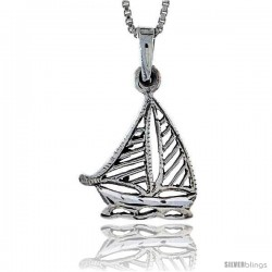 Sterling Silver Sailboat Pendant, 1 1/8 in tall