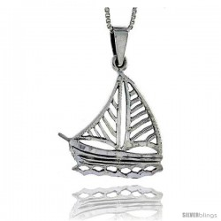 Sterling Silver Sailboat Pendant, 1 1/4 in tall