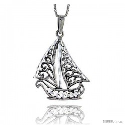 Sterling Silver Sailboat Pendant, 1 1/2 in tall