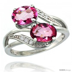 14k White Gold ( 8x6 mm ) Double Stone Engagement Pink Topaz Ring w/ 0.07 Carat Brilliant Cut Diamonds & 2.34 Carats Oval Cut