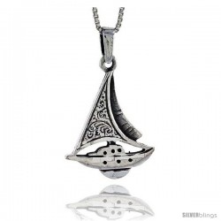 Sterling Silver Sailboat Pendant, 1 1/2 in tall -Style Pa428