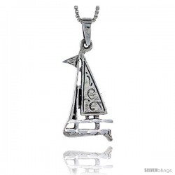 Sterling Silver Sailboat Pendant, 1 1/2 in tall -Style Pa429