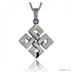 Sterling Silver Quaternary Celtic Knot Pendant, 1 1/4 in tall