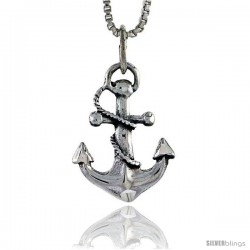 Sterling Silver Anchor Pendant, 3/4 in tall -Style Pa431