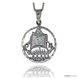 Sterling Silver Sailboat Pendant, 1 1/16 in tall