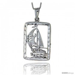 Sterling Silver Sailboat Pendant, 1 3/4 in tall