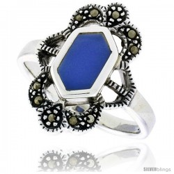 Sterling Silver Ring, w/ Hexagon-shaped Blue Resin, 3/4 in (19 mm) wide