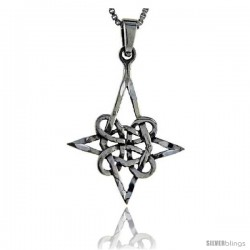 Sterling Silver Quaternary Celtic Knot Pendant, 1 3/8 in tall -Style Pa44
