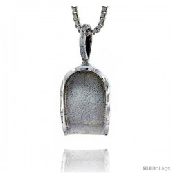 Sterling Silver Dustpan Pendant, 3/4 in tall