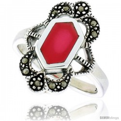 Sterling Silver Ring, w/ Hexagon-shaped Red Resin, 3/4 in (19 mm) wide