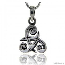Sterling Silver Triskelion Celtic Symbol Pendant, 1 in tall