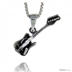 Sterling Silver Guitar Pendant, 3/4 in tall -Style Pa464
