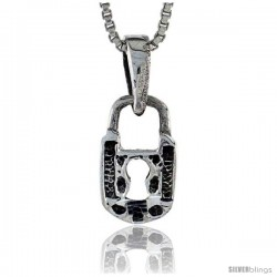 Sterling Silver Padlock Pendant, 1/2 in tall