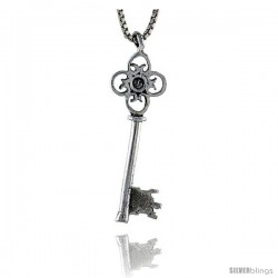 Sterling Silver Key Pendant, 1 1/4 in tall