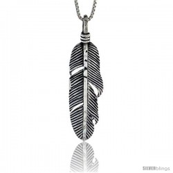 Sterling Silver Feather Pendant, 1 1/4 in tall -Style Pa470