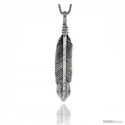 Sterling Silver Feather Pendant, 1 3/4 in tall