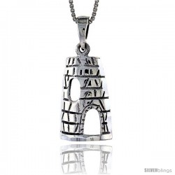 Sterling Silver Wigwam Pendant, 7/8 in tall