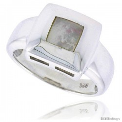 "Sterling Silver Ladies' Ring w/ a Square-shaped Mother of Pearl, 1/2"" (13 mm) wide"