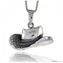 Sterling Silver Cowboy Hat Pendant, 1 in tall