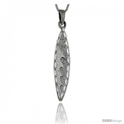 Sterling Silver Surfboard Pendant Wave Pattern, 2 in tall
