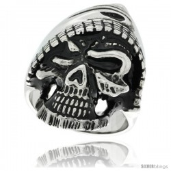 Surgical Steel Biker Ring Gothic Hooded Skull