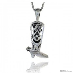 Sterling Silver Cowboy Boot Pendant, 1 in tall
