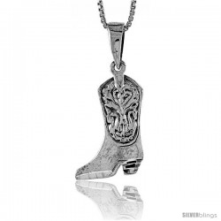 Sterling Silver Cowboy Boot Pendant, 3/4 in tall -Style Pa493
