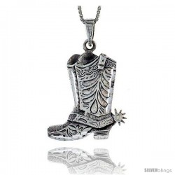 Sterling Silver Cowboy Boots Pendant, 1 1/16 in tall