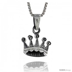 Sterling Silver Crown Pendant, 1/2 in tall -Style Pa501