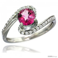 14k White Gold Natural Pink Topaz Swirl Design Ring 6 mm Round Shape Diamond Accent, 1/2 in wide