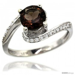 14k White Gold Natural Smoky Topaz Swirl Design Ring 6 mm Round Shape Diamond Accent, 1/2 in wide